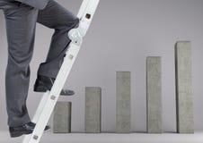 Conceptual image of businessman climbing ladder of success Royalty Free Stock Photos