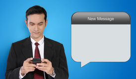 Conceptual image of businessman and message technology Stock Image