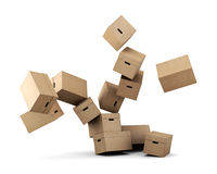 Conceptual image of a cardboard box on a white background. 3d re Stock Photos