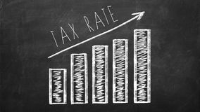 Diagram showing current trend of increasing Tax Rates. Royalty Free Stock Photo