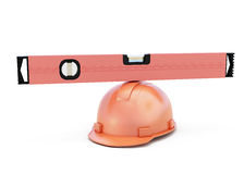 Conceptual image of a construction level on a helmet Stock Images