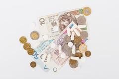 Conceptual image: few Polish zloty and a little pills royalty free stock image