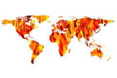 World map and fire flames. Conceptual image of flat world map and fire flames. NASA flat world map image used to furnish this image stock images