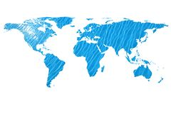World map and water. Conceptual image of flat world map and water. NASA flat world map image used to furnish this image stock images