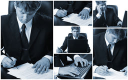 Conceptual image-grid of business photos Stock Images