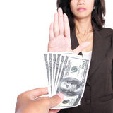 Conceptual image of hand give money for corruption. But another refused to take the money Royalty Free Stock Photo