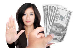 Conceptual image of hand give money for corruption Royalty Free Stock Photos