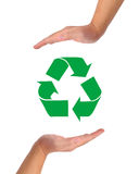 Conceptual image, help and care for recycling. Stock Photography