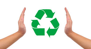 Conceptual image, help and care for recycling. Royalty Free Stock Photos