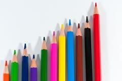 Conceptual image of increasing sells. Conceptual image of increasing sels with color pencils Stock Photo