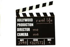 Film slate - film clapperboard. Real life stock image