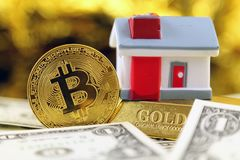 Conceptual image for investors in cryptocurrency new virtual money, gold, real estate and dollars Royalty Free Stock Photos