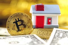 Conceptual image for investors in cryptocurrency new virtual money, gold, real estate and dollars Stock Images