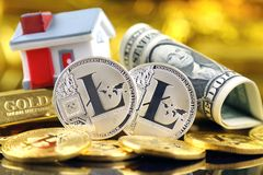 Conceptual image for investors in cryptocurrency new virtual money, gold, real estate and dollars Royalty Free Stock Images