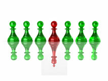 Conceptual image of magalomania or uniqe. Chess Stock Image