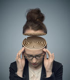 Conceptual image of a maze in the woman's brain Stock Photo