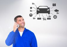Conceptual image of mechanic talking on mobile phone while looking at  car sign Stock Photo