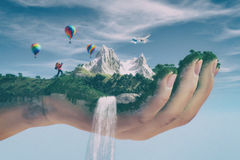 Conceptual image of a mountain landscape Stock Images