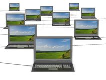 Conceptual image of a network from laptops. 3D illustrations Royalty Free Stock Photo