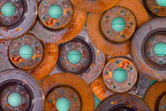 Conceptual image of overlaid rusty brake rotors Stock Photography