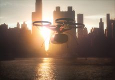 Package Delivery by Drone Royalty Free Stock Image