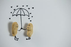 Conceptual image peanut figurine couple standing under umbrella Royalty Free Stock Images
