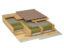 Conceptual image of pitched roof insulation. Three-dimensional image fragment insulation pitched roof Stock Image