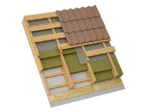 Conceptual image of pitched roof insulation. Three-dimensional image fragment insulation pitched roof Royalty Free Stock Photos