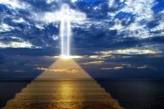 Ladder leading upward to heaven. Conceptual image of the religious symbolic cross Stock Photo