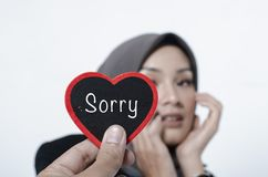 Conceptual image,romantic look hand holding heart made from wood with word SORRY. Over blurred and selective focus background Royalty Free Stock Photography