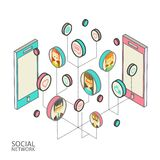 Conceptual image with social networks. Flat Royalty Free Stock Image