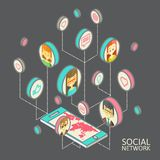 Conceptual image with social networks. Flat Royalty Free Stock Photo