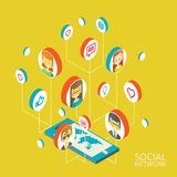Conceptual image with social networks. Flat Royalty Free Stock Images