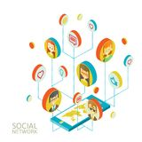 Conceptual image with social networks. Flat Stock Photos
