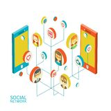 Conceptual image with social networks. Flat Stock Photography