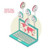 Conceptual image with social networks. Flat Stock Images