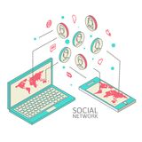 Conceptual image with social networks. Flat Stock Image