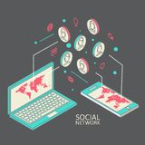 Conceptual image with social networks. Flat Royalty Free Stock Photography