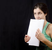 Nervous about the test. Conceptual image about theatre, actress, exams and nervous people Stock Image
