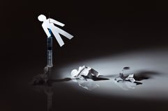 The conceptual image on a theme of narcotic dependence. White reflective background Stock Photo