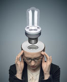 Conceptual image of thinking businessman royalty free stock image