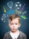 A conceptual image of a thinking child Stock Photos