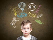 A conceptual image of a thinking child Stock Images