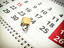 Trial period. Conceptual image about trial period presented with a calendar and a padlock Royalty Free Stock Photos