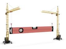 The conceptual image - two construction cranes raise constructio Royalty Free Stock Photos