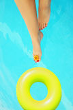 Conceptual image of vacation. Beautiful female legs in the pool, conceptual image of vacation Stock Images