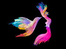 Conceptual Imagination. Bird of Mind series. Background design of woman and bird profile executed with colorful paint on the subject of creativity, imagination Royalty Free Stock Photos