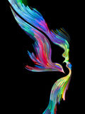 Conceptual Imagination. Bird of Mind series. Background design of woman and bird profile executed with colorful paint on the subject of creativity, imagination Stock Photos
