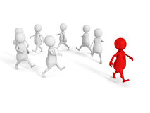 Conceptual individual 3d red man out from white group Royalty Free Stock Photos