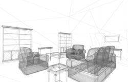 Conceptual interior render Royalty Free Stock Image